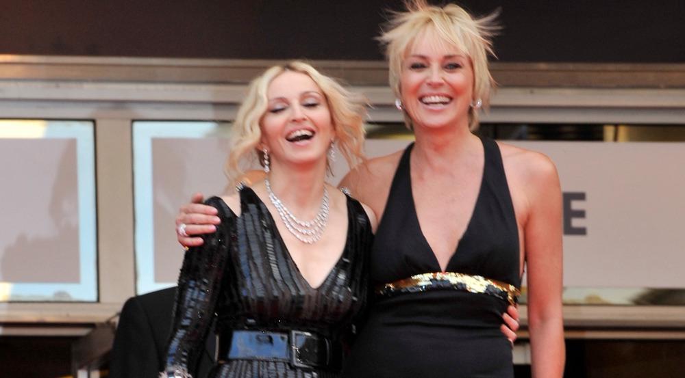 Madonna (l.) und Sharon Stone gemeinsam bei den Filmfestspielen von Cannes im Jahr 2008