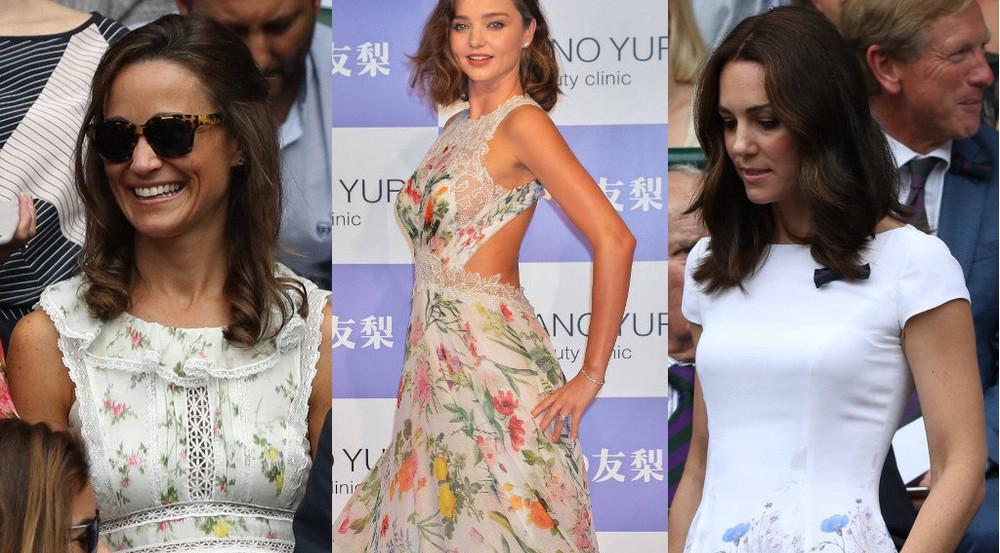 Beautys in Blümchenkleidern (v.l.): Pippa Matthews, Miranda Kerr und Herzogin Kate
