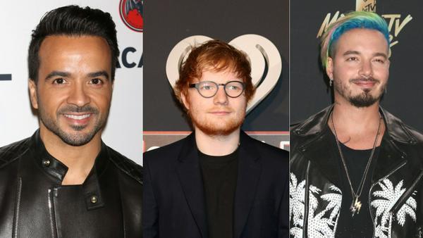Sie führen das YouTube-Ranking an: Luis Fonsi, Ed Sheeran und J Balvin (v.l.n.r.)