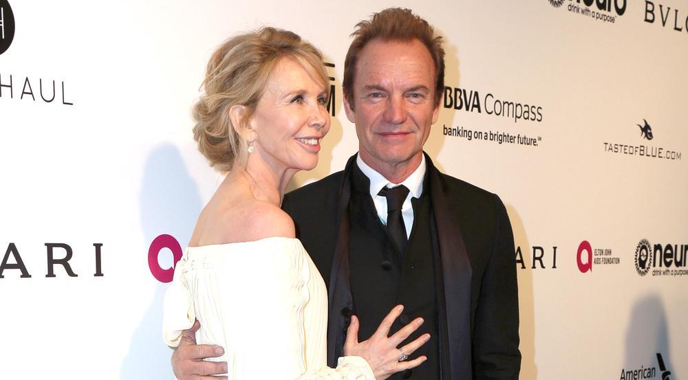 Sting und seine Ehefrau Trudie Styler bei Elton Johns Oscar-Party im Februar 2017