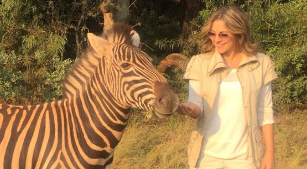Elizabeth Hurley hatte die Gelegenheit, ein Zebra zu streicheln