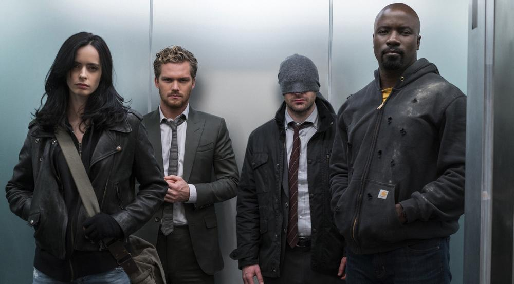 "Krysten Ritter (v.l.), Finn Jones, Charlie Cox und Mike Colter in ""Marvel's The Defenders"""