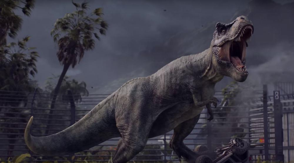 """Auch der ein oder andere böse Dino darf in """"Jurassic World: Evolution"""" natürlich nicht fehlen"""