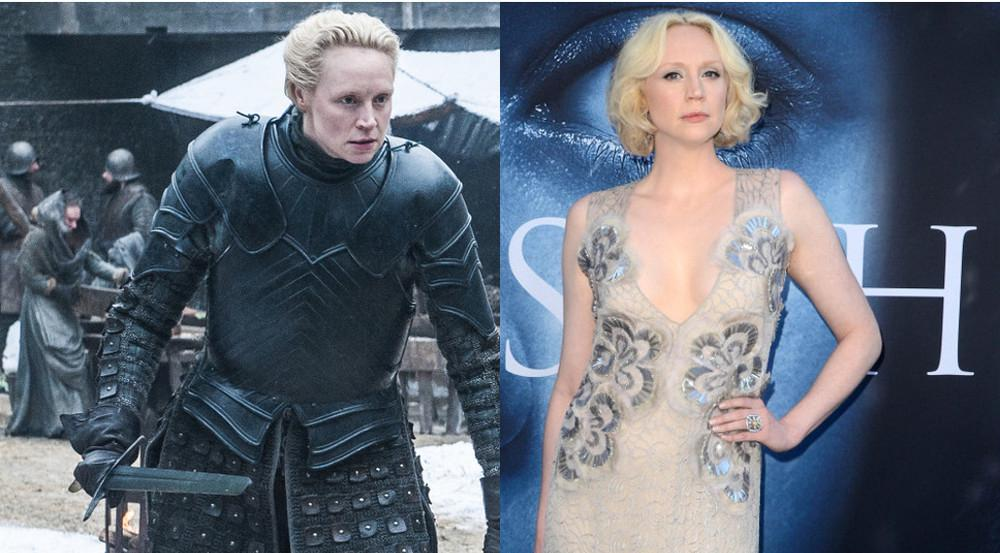 Eine Person: links Brienne von Tarth, rechts Gwendoline Christie
