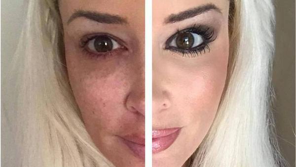 Mit diesem Bild zeigt Daniela Katzenberger die enorme Wirkung von Make-up