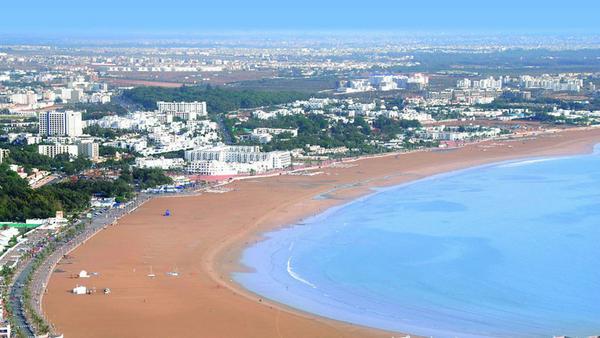 Beliebt bei Badeurlaubern: die Bucht von Agadir