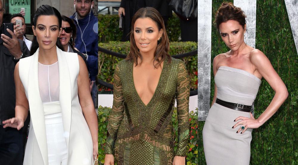 Kim Kardashian, Eva Longoria und Victoria Beckham (v.l.) schummeln sich mit einfachen Tricks größer