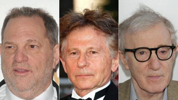 Unter anderem Harvey Weinstein, Roman Polanski und Woody Allen (v.l.n.r.) sorgten für Sex-Skandale in Hollywood