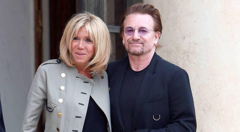 Brigitte Macron und Bono bei ihrem Treffen