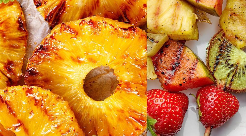 Fruchtiger Grillspaß mit Ananas, Erbeeren und anderem Obst