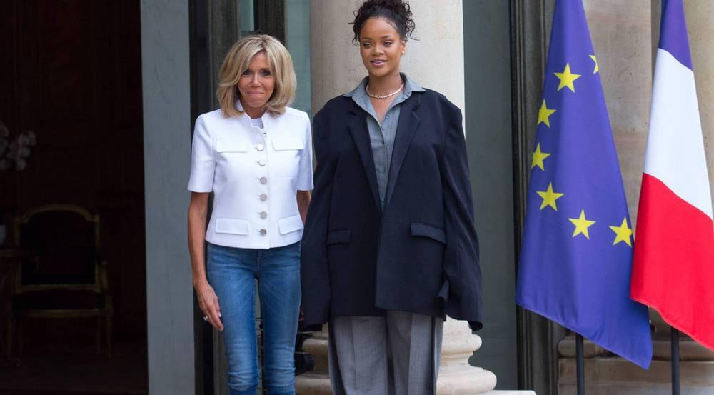 Gegensätzlicher geht nicht: Links Brigitte Macron, rechts Rihanna
