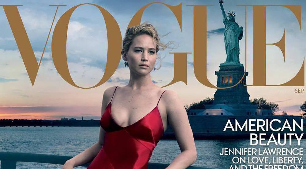 """Jennifer Lawrence auf einem Cover der """"Vogue""""-Jubiläumsausgabe, fotografiert von Annie Leibovitz"""