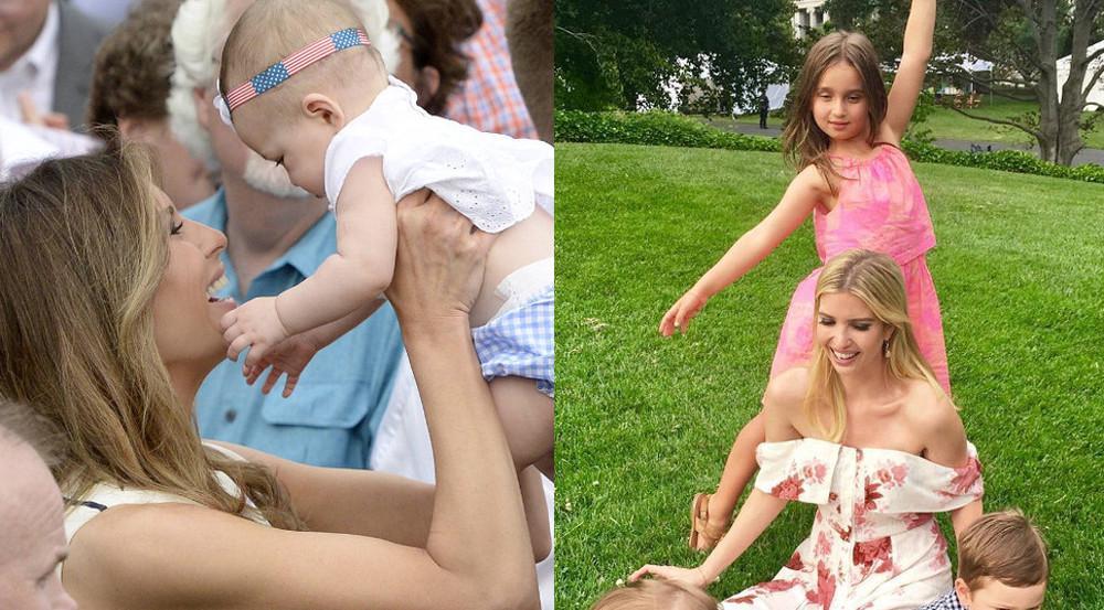 Melania Trump (links) schmust mit Babys, Ivanka (rechts) spielt mit ihren Kids