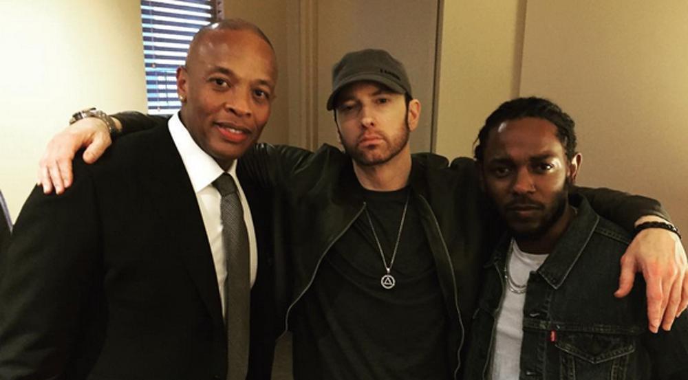 Drei Rapper unter sich: Dr. Dre, Eminem und Kendrick Lamar (v.l.)