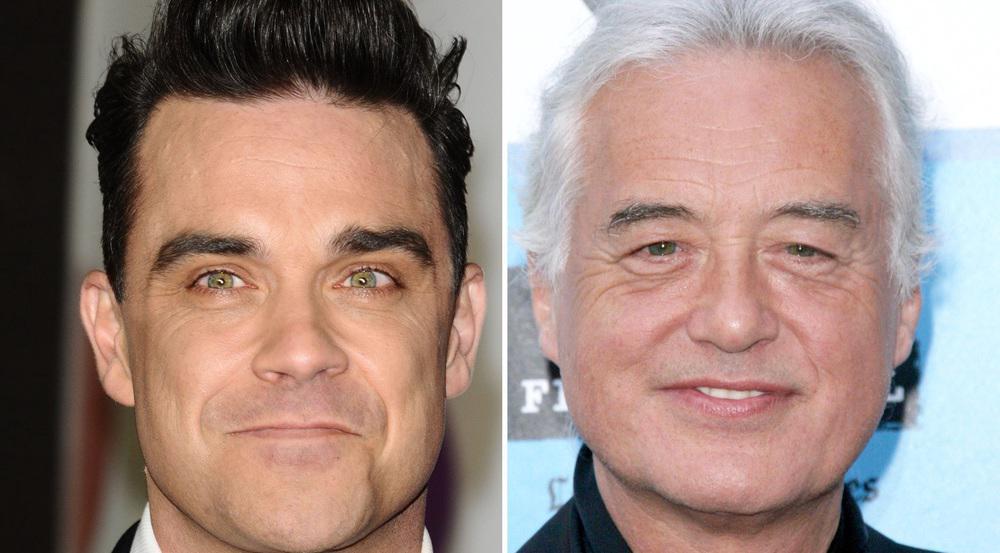 Robbie Williams (li.) und Altrocker Jimmy Page werden wohl keine Freunde mehr