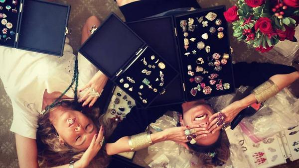 Im Glitzer-Rausch: Heidi Klum (rechts) mit Schmuckdesignerin Ofira Sandberg