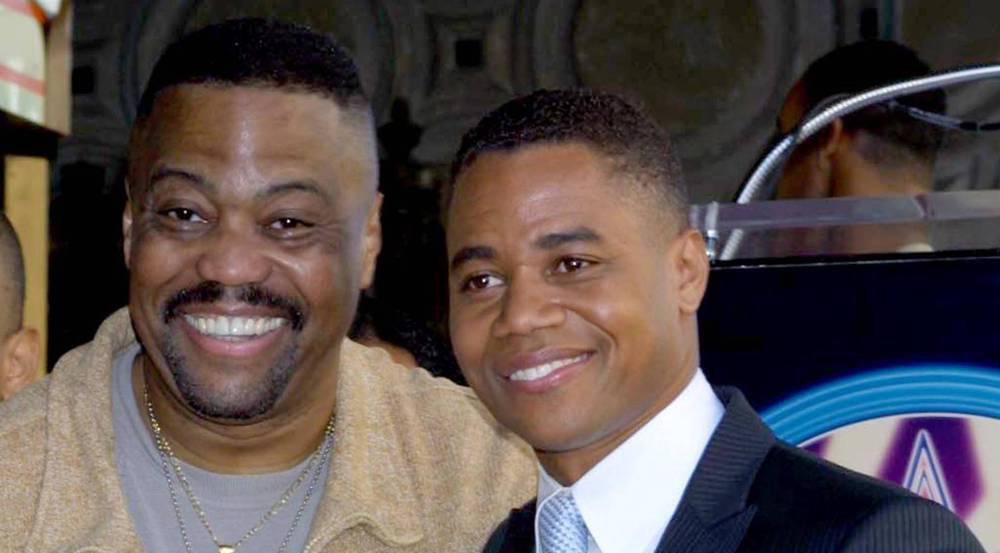 Cuba Gooding Jr. (r.) mit seinem Vater im Jahr 2002, als er seinen Stern auf dem Hollywood Walk of Fame bekam