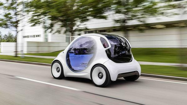 Heckansicht des autonomen Stadtfahrzeugs