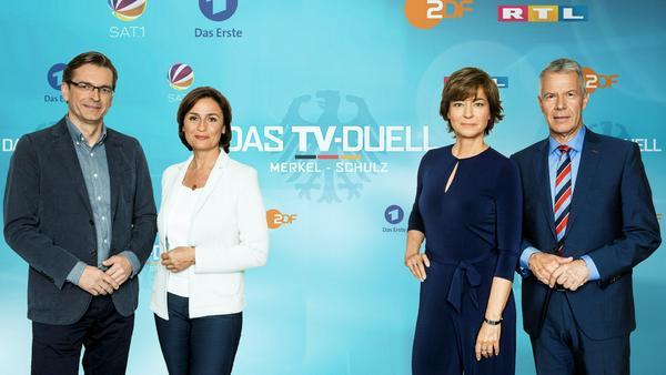"""Das """"TV-Duell"""" wird von Sandra Maischberger, Maybrit Illner, Peter Kloeppel und Claus Strunz moderiert"""