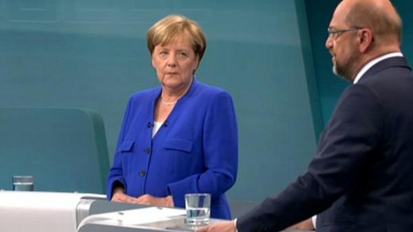 Bundeskanzlerin Angela Merkel und ihr Herausforderer Martin Schulz beim TV-Duell
