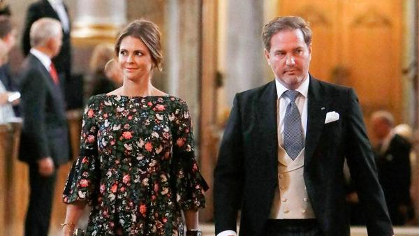 Prinzessin Madeleine und ihr Gatte Chris O'Neill am Montag beim Gottesdienst in Stockholm