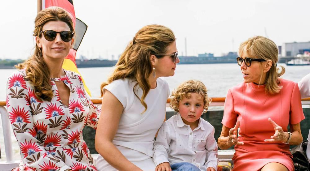 First Ladys unter sich (v.l.): die Argentinierin Juliana Awada, Gregoire Trudeau mit Söhnchen Hadrian aus Kanada und Frankreichs Brigitte Macron
