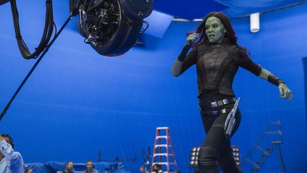 """Zoe Saldana alias Gamora bei den Dreharbeiten zu """"Guardians of the Galaxy Vol. 2"""""""
