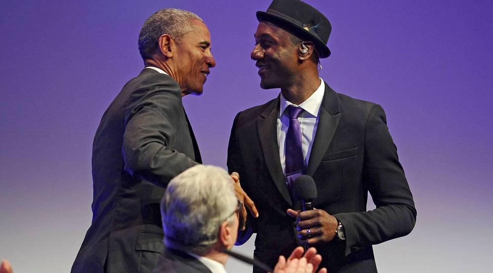 Barack Obama in Baden-Baden mit Sänger Aloe Blacc
