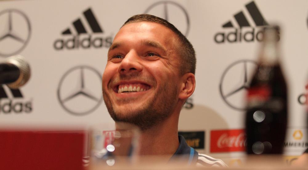 Dieses Lachen hat Poldi offenbar auch seiner Tochter vererbt