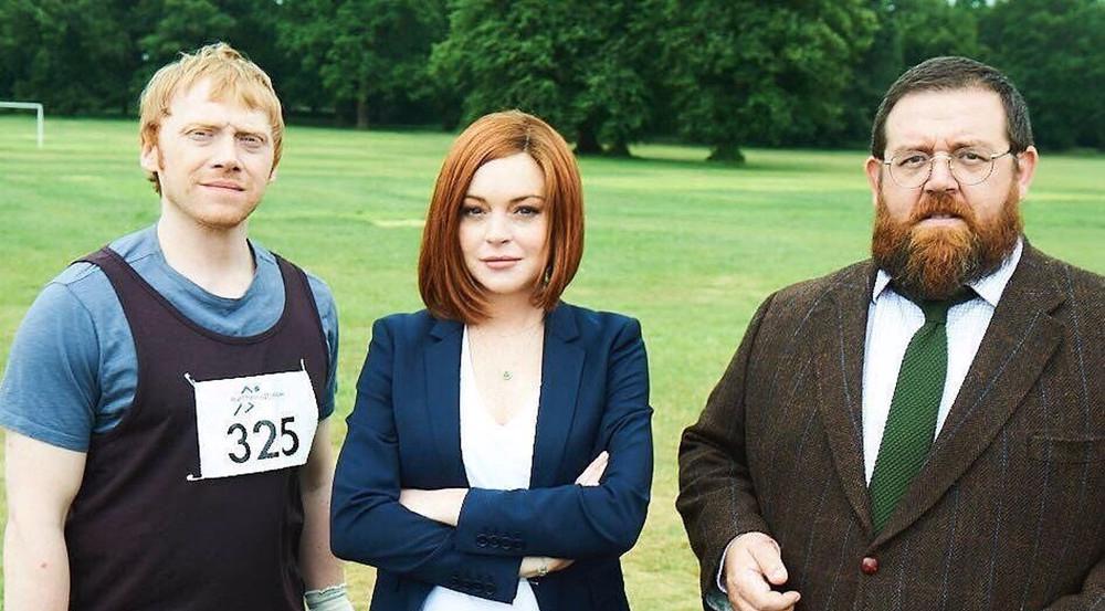 Lindsay Lohan dreht derzeit mit Rupert Grint (links) und Nick Frost