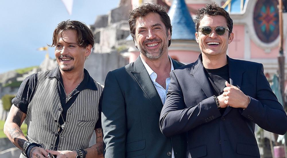 Johnny Depp (v.l.), Javier Bardem und Orlando Bloom bei der Europapremiere am 14. Mai 2017 in Paris
