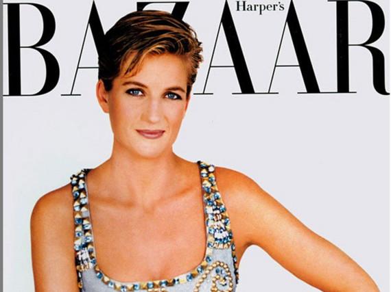 Lady Diana in ihrem legendären Versace-Kleid auf dem Cover des Magazins
