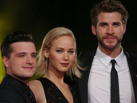 Die Hauptdarsteller v.l.n.r.: Josh Hutcherson, Jennifer Lawrence und Liam Hemsworth