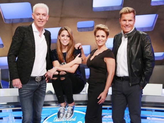 Zum 13. Mal sucht Dieter Bohlen Deutschlands neuen Superstar. Unterstützung erhält er von HP Baxxter, Vanessa Mai und Michelle (v.l.n.r.)