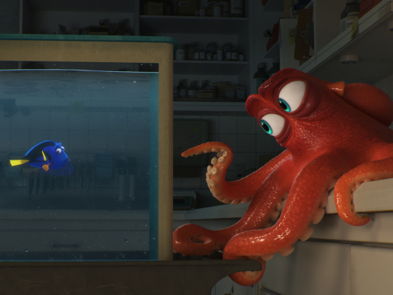 Dory landet wie Nemo auf der Suche nach ihrer Familie in einem Aquarium