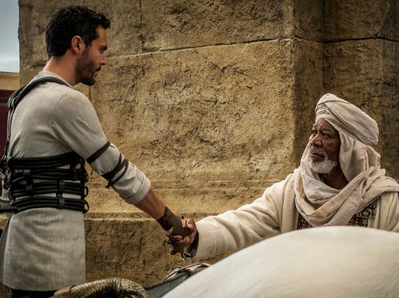 Jack Huston als Judah Ben-Hur und Morgan Freeman als Ilderim in