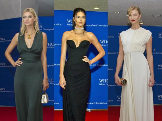 Kelly Rohrbach, Kendall Jenner und Karlie Kloss (v.l.n.r.) auf dem roten Teppich zum White House Correspondents' Dinner