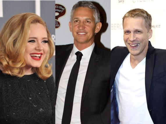 Adele, Gary Lineker (Mitte) und Oliver Pocher freuen sich über den Titelgewinn von Leicester City
