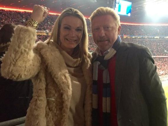 Nach dem 1:0 für den FCB gegen Atlético Madrid war die Stimmung bei den Sportskollegen Maria Höfl-Riesch und Boris Becker noch gut ...