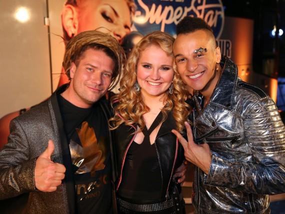 Die drei Finalisten: Thomas Katrozan (l.), Laura van den Elzen und Prince Damien