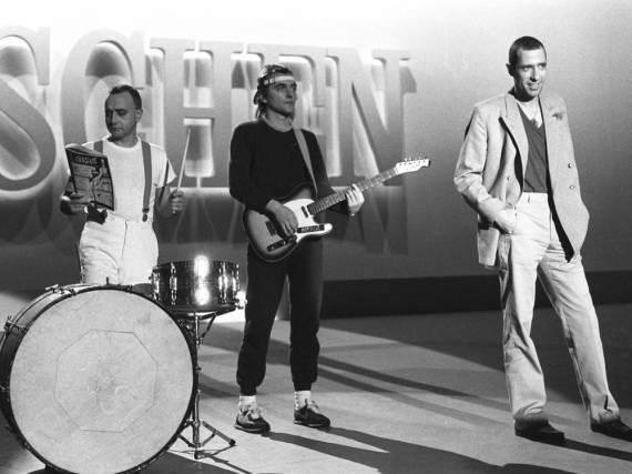 Peter Behrens (li.) 1983 bei einem Fernsehauftritt mit seinen Trio-Kollegen Gert Krawinkel und Stephan Remmler