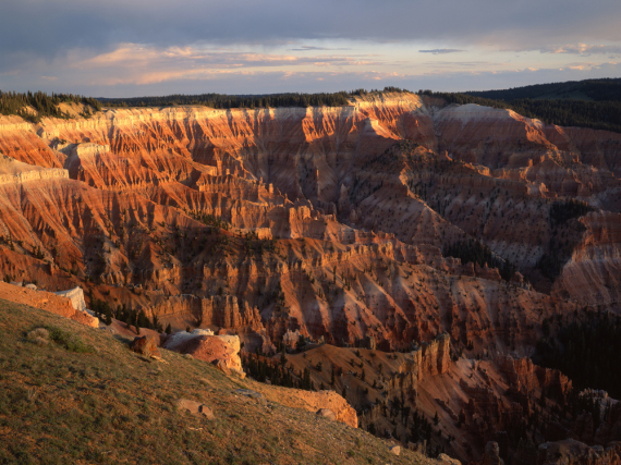 Leuchtende Sandstein-Formationen bei Sonnenaufgang im Cedar Breaks National Monument