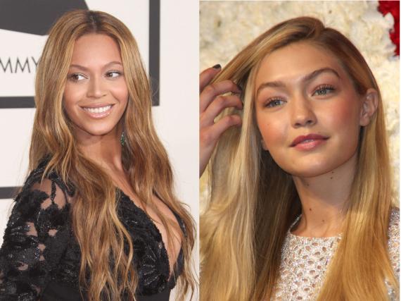 Weniger ist auch auf dem roten Teppich mehr: Beyoncé (l.) und Model Gigi Hadid setzen auf den Nude-Look