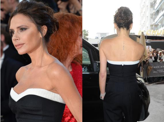 Victoria Beckham präsentierte in Cannes ein fast unsichtbares Tattoo in ihrem Nacken