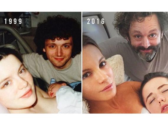 Kate Beckinsale stellt mit Tochter Lily und Ex-Partner Michael Sheen ein Familienfoto von 1999 nach