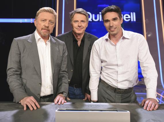 Boris Becker (v.li.n.re.) zusammen mit Showmaster Jörg Pilawa und Ex-Rivale Michael Stich