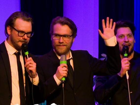 Etienne Gardé (l.), Nils Bomhoff und Simon Krätschmer von Rocket Beans TV