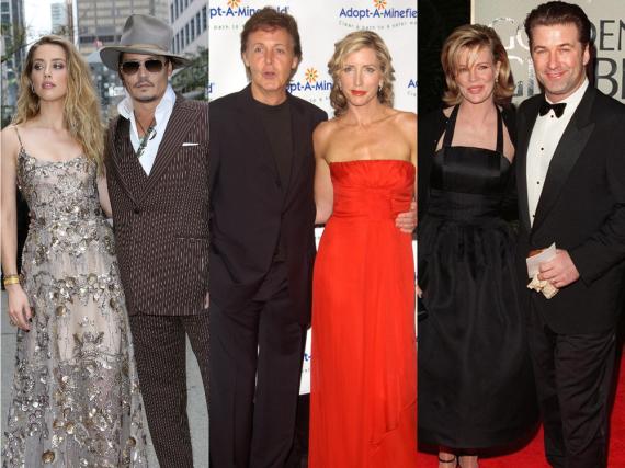 Nicht nur Amber Heard und Johnny Depp (li.) liefern sich einen Rosenkrieg: Auch bei Heather Mills und Paul McCartney sowie Kim Basinger und Alec Baldwin ging es bei der Scheidung hoch her...