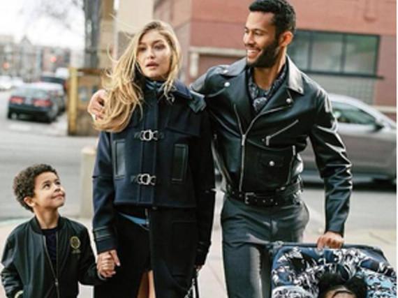 Ein Foto der neuen Versace-Kampagne. Die 21-jährige Gigi Hadid ist darauf als Mutter zu sehen