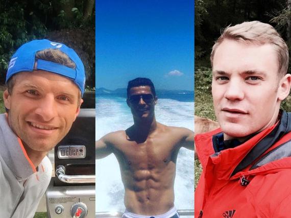 Wer ist der Facebook-König? Thomas Müller, Cristiano Ronaldo oder Manuel Neuer (v.l.n.r.)